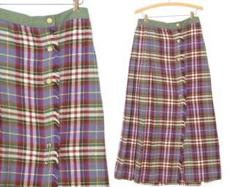 Plaid Maxi Skirt * 60s Pleated Kilt Skirt * Vintage Maxi Skirt * Large