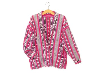 Vintage Kimono Jacket * Ikat Cocoon Coat * Oversized Jacket * Large - XL