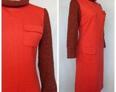 1960s Mod Dress, David Gibson Regent Street London, Knit with Contrast Collar, Sleeves