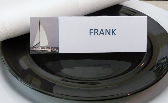 Place Cards/ Name Cards/ Food Tents - Sailboat on the Ocean - Set of 6