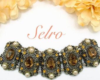 Selro Wide Ornate Vintage Bracelet With Large Topaz Stones & Faux Pearls