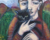 Folk art painting portrait girl and black cat acrylic figurative expressionist original on cradled hardboard