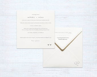 Printed Wedding Invitation and Envelope Set – Love Birds – Australia