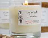 Cedar Sage Candle - Pure Natural Aromatherapy Essential Oil Soy Candle in 11 Oz. Tumbler Glass Jar with Kraft Gift Box