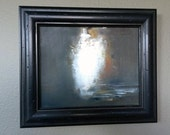 Original framed oil painting 14x12 abstract: Between