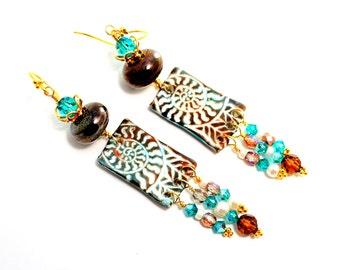 Long Tribal Glass Bead Earrings. Fall Colors. Dangle Earrings. Boho Earrings. Polymer Clay Charms. Lampwork Jewelry. Artisan Gifts For Her.