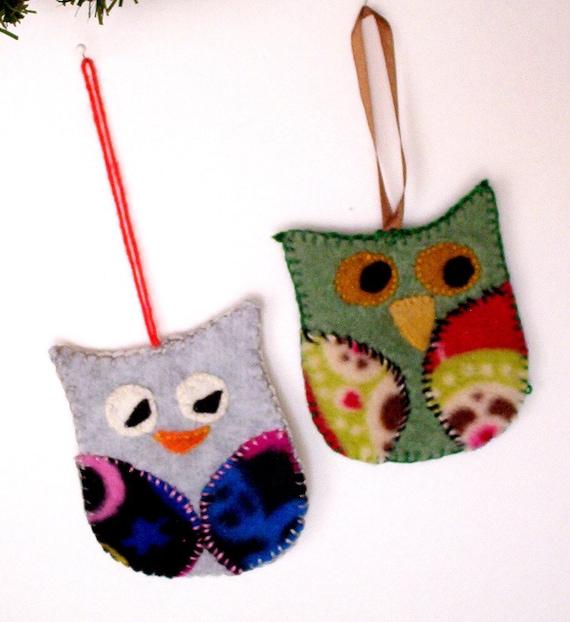 Christmas Tree Decoration Owl : Owl ornament handmade christmas tree decor by