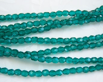 Czech 3mm teal faceted round fire polished beads, lot of (100) - AZ92