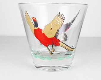 Vintage Old Fashioned Glass with Pheasant Motif