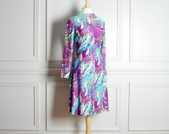 Dress A Line / Psychedelic Print Neon Purple Cyan / Hippie Costume / Mod / 60s Vintage / Medium M Large L