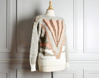 Sweater Abstract / Taupe Pink Metallic Geometric / Fall Ugly Hipster / 80s Vintage / Large L