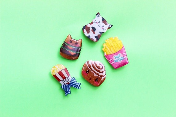 Super Cute Glittery Hand Drawn Shrink Plastic Brooches - Group D
