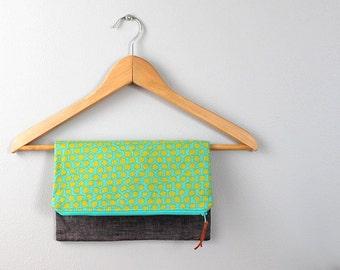Fold over Clutch, Evening Bag, Zipper Purse, Everyday Clutch, Women's Purse, Zipper Pouch in Green, Teal and Gray Linen