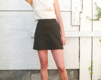Vintage Military Inspired 1990's Army Green Wool Buttoned Mini Skirt S/M 28