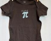 "Mathematical Pi ""CUTIE PI"" Bodysuit for Babies, Pi day, 3.14 Pi onesie, baby pi, cutie pi onesie"