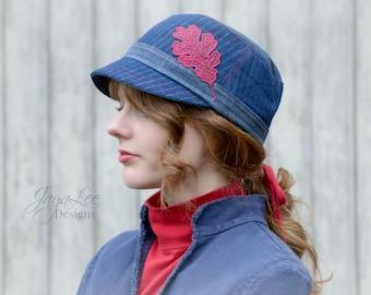 Denim Cap Hat Red Oak Leaf