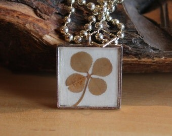 Real Four Leaf Clover Charm Necklace for Good Luck Christmas graduation or birthday gift idea