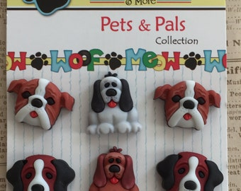 "Dog Buttons, ""Dog Days"" Pets & Pals Collection by Buttons Galore, Carded Set of 6 Dog Buttons, Style PP102"