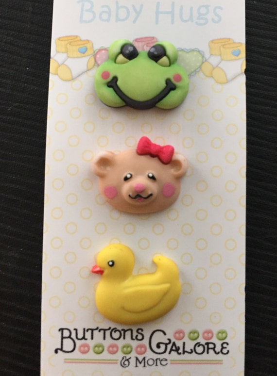 Baby Buttons Carded Set of 3 Baby's Friends Style BH126 by Buttons Galore Baby Hugs Collection Includes Bear, Duck and Frog