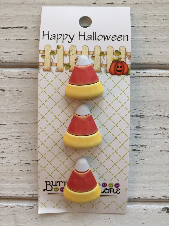 Candy Corn Buttons, Carded Set of 3 Novelty Buttons by Buttons Galore, Halloween Collection, Shank Back Buttons, Sewing, Crafting