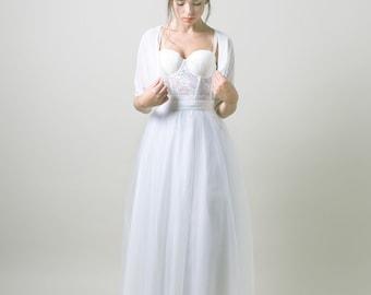 White Tulle floor length wedding skirt / Bridal tutu / Maxi wedding skirt