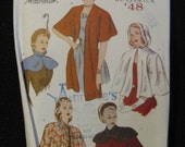 Retro Butterick'48 Pattern 6411, Capes & Capelettes, Sizes 6 8 and 10,  UC FF