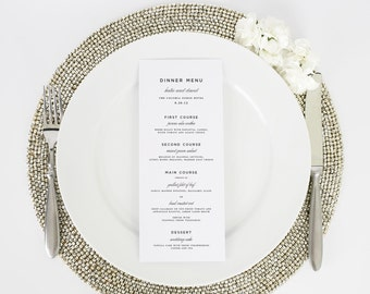 Wedding Menu - Dinner Menu - Classic Urban Design - Deposit