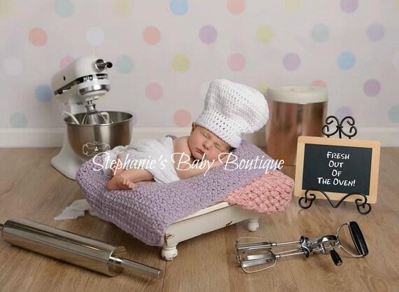 Baby White Chef Hat Crochet Custom Made Newborn 0 3 3 6