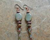Spike earrings, graffiti earrings, colorful dangle earrings, multicolored spikes, long dangle earrings, mykonos ceramic,alternative earrings