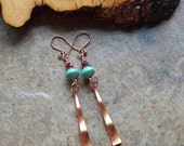 Turquoise and red earrings, vintage copper drop earrings, southwestern style, indie jewelry, colorful bohemian earrings, tribal inspired