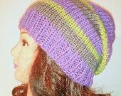 Knit Slouchy Beanie, Striped Grey Hat, Purple Hat, Womans Accessories, Teen Hat, Womans Beanie Hat