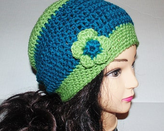 Slouchy Beanie, Crochet Hat, Teal Blue and Sage Green Hat, Slouchie Womans Hat, Winter Hat, Crochet Beanie, Blue and Green