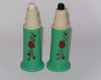 Green Carvanite Plastic Push Button Salt And Pepper Set Hand Painted Red Flowers 1950's