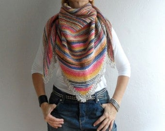 Colorful Triangle Shawl, Midi Shawl, Womens Scarf Neckwarmer Shoulder Wrap