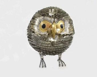 Vintage Metal Owl Sculpture Figurine Brutalist Style