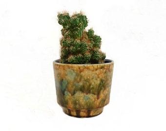 Vintage Planter Pot Scheurich West Germany Brown Green
