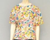 Vintage 1980's Crazy Pink, Yellow and Blue Floral Abstract Patterned Short Sleeve T-Shirt - Slightly Cropped, Oversized