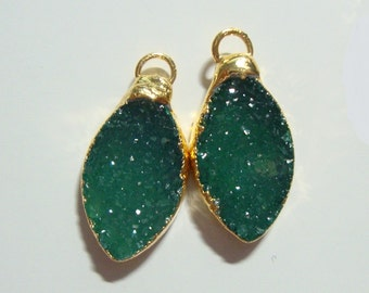 Agate Druzy Drusy Crystal Gold Edge, Lovely Emerald Green Marquise Diamond Earring Pair, Tiny Pendant - o10-G