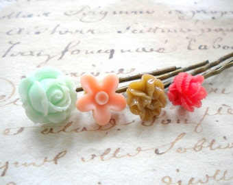 Children Hair Accessories Flower Girl Gift Set Pastel Flower Hair Pin Birthday Gift For Girls Cameo Flower Bobby Pin Children Hair Pin