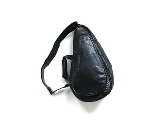 Vintage Leather Backpack / Black Leather Backpack / Patchwork Leather Knapsack