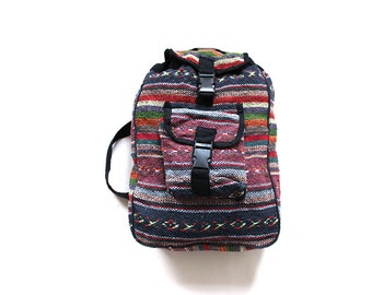 Vintage Woven Backpack / Drawstring Backpack / Etnic Backpack