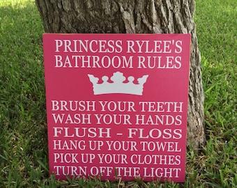 Princess Bathroom Rules ~ Princess Decor ~ Bathroom Decor ~ Wooden Sign ~ Bath Sign ~ Bathroom Rules ~ Girls Bathroom Sign