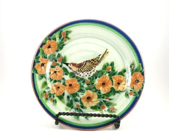 Green Dinnerware - Handmade Floral Ceramic Plate - Pottery Dish for Dessert or Bread - Orange Flwoers and Bird