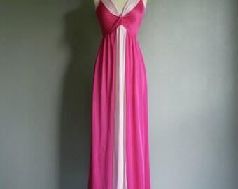 Vintage 60s 70s PINK Ombre Olga Lingerie LOUNGE Slip Nightie (xs-s)