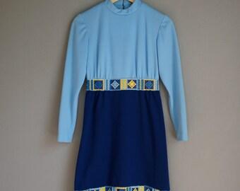 Vintage 60s FRINGE John Norman BLUE MOD Dress (xs-s)
