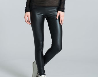 Faux Leather Leggings / Black Pants / Black Leggings / Designer Pants / Unique Fashion / Tight Pants / marcellamoda - MP013