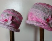 Child Adult Hat Rolled Brim Beanie With Flower COOL PINK Size SMALL 1 to 6 months