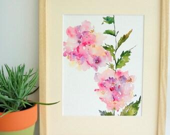 Hydrangea Flower Watercolor, Fine Art Print 8x10, Watercolor Flowers