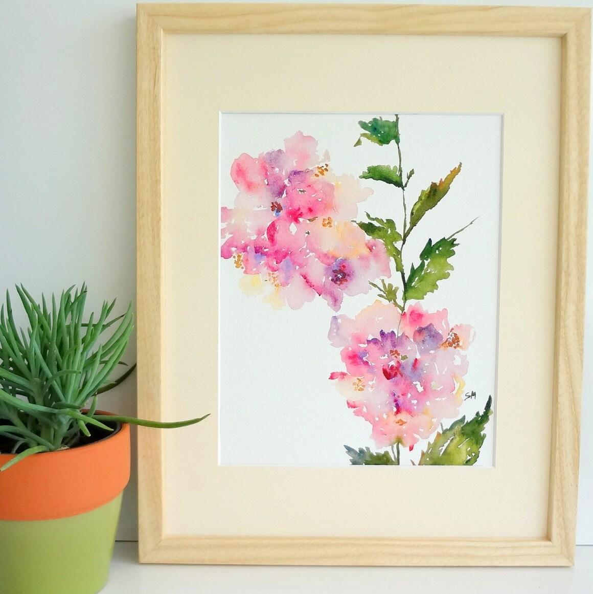 Hydrangea Flower Watercolor Fine Art Print 8x10 Watercolor