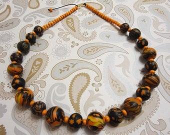 """Handmade polymer clay necklace """"Africa"""". Бусы ручной работы из полимерной глины """"Африка""""."""